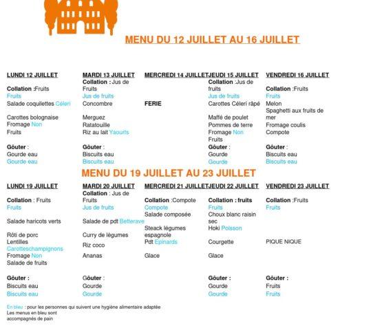 menu du 12 juillet au 16 juillet et du 19 juillet au 23 juillet