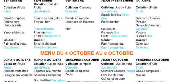 Menus du 27 septembre au 1er octobre et du 4 octobre au 8 octobre