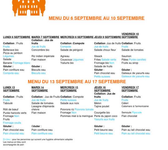 Menus du 6 septembre au 10 septembre et du 13 septembre au 17 septembre
